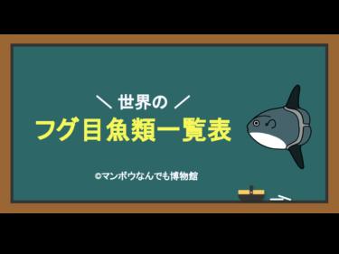 世界のフグ目魚類一覧表(科・標準和名・学名・命名者・命名年)
